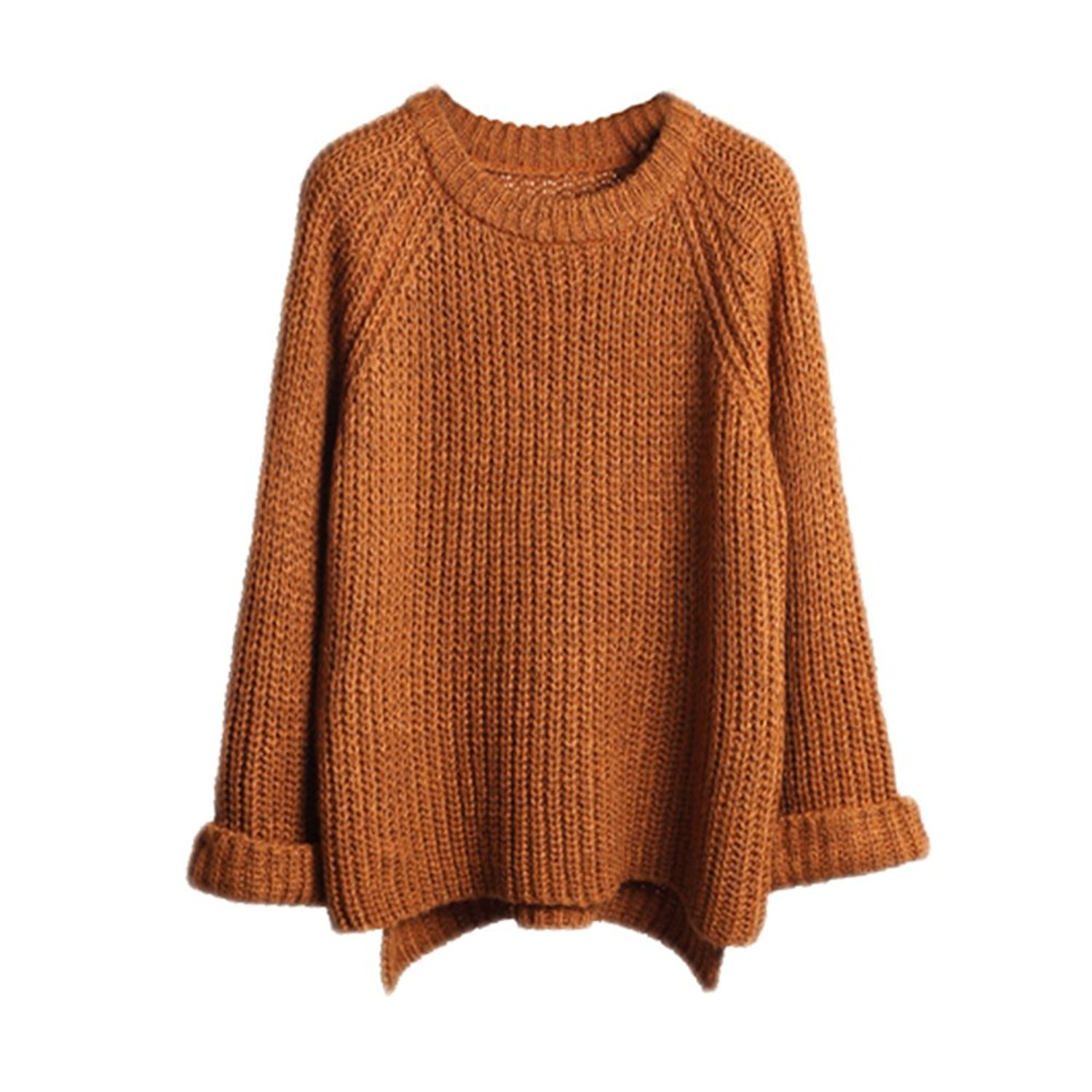 knitted sweaters lisli womenu0027s batwing sleeve loose oversized pullover knitted sweater  (coffee) at amazon ydhyfai