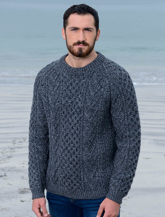 knitted sweaters mens handknit honeycomb stitch sweater -