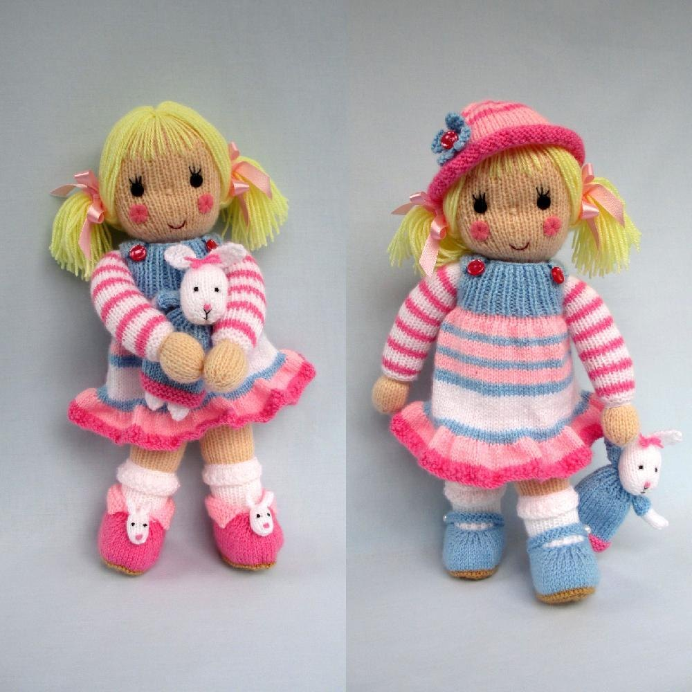 knitted toys betsy and her bunny - doll knitting pattern knitting pattern by dollytime fysimmz