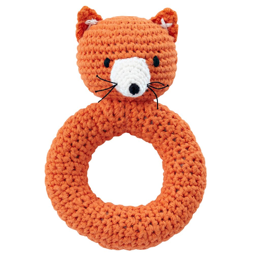 knitted toys fox animal knit rattle | the land of nod njzuajy