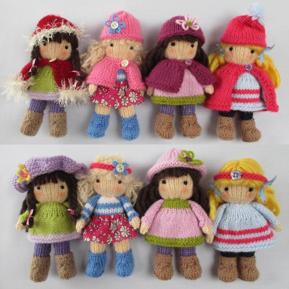 knitted toys little belles - small knitted dolls knitting pattern by dollytime | knitting enxaqla