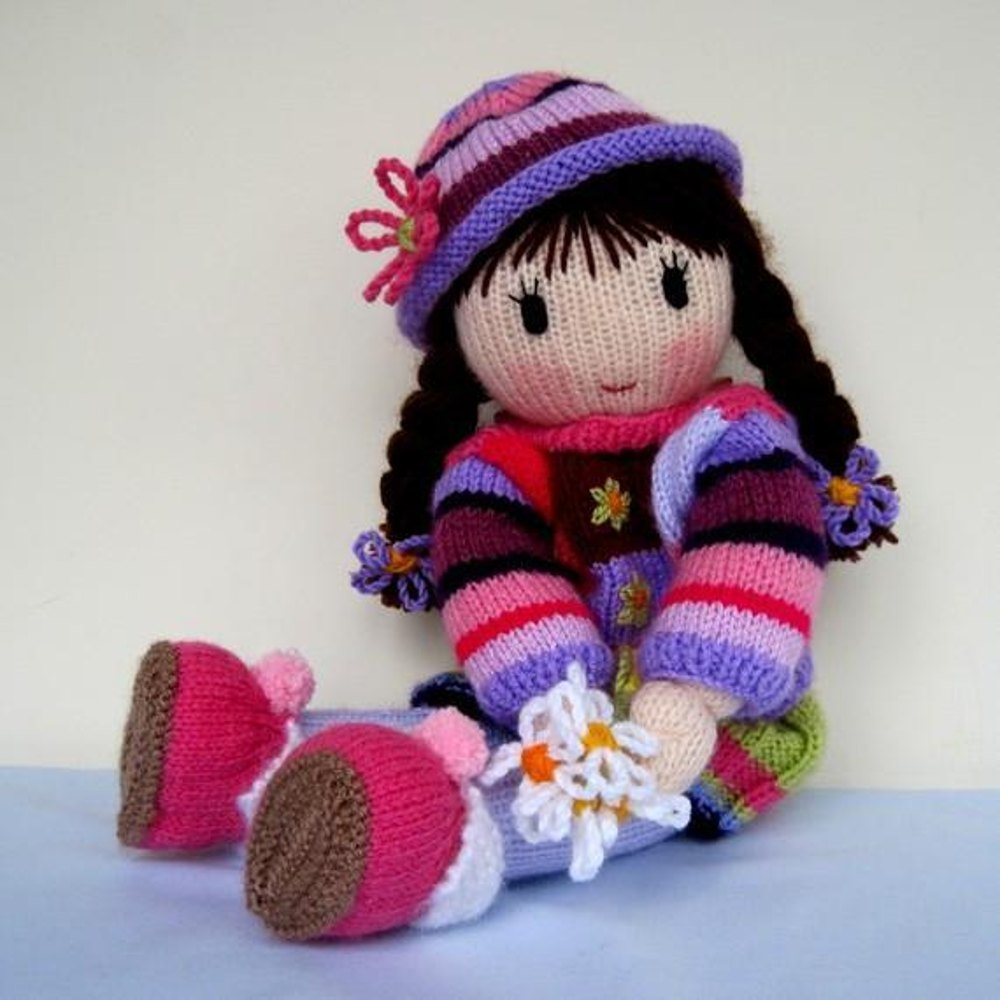 knitted toys posy - knitted doll knitting pattern by dollytime | knitting patterns | brgtvlw