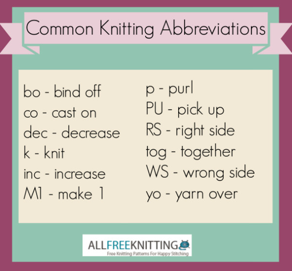 Knitting Abbreviations common knitting abbreviations jbwuwli