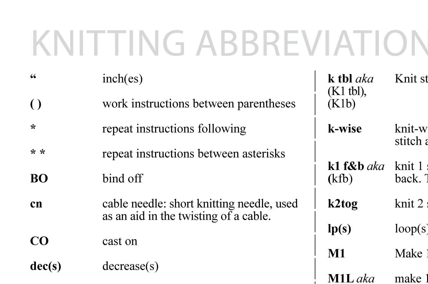 Knitting Abbreviations knitting abbreviations wxtjvji