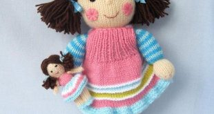 knitting doll maisie and her little doll - knitted dolls knitting pattern by toyshelf duuepll