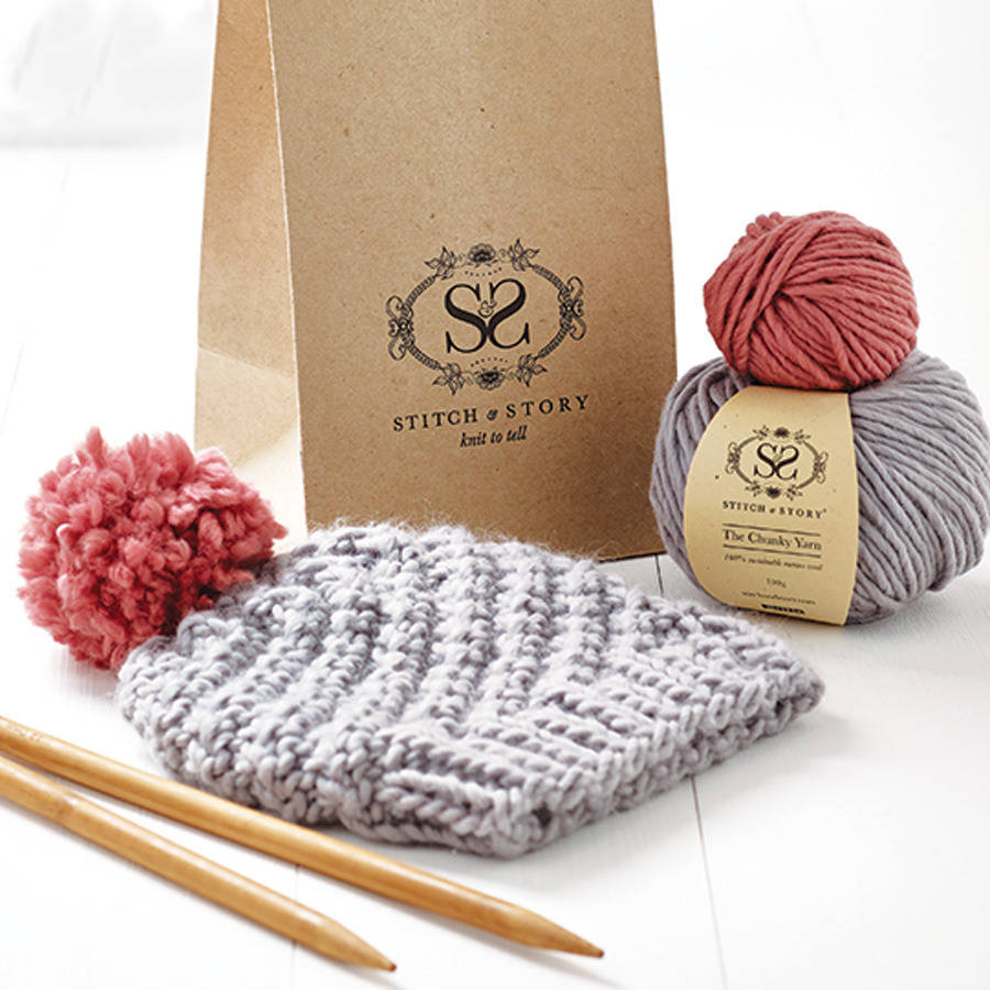 Knitting kits beginneru0027s pom pom hat knitting kit tvmcgup