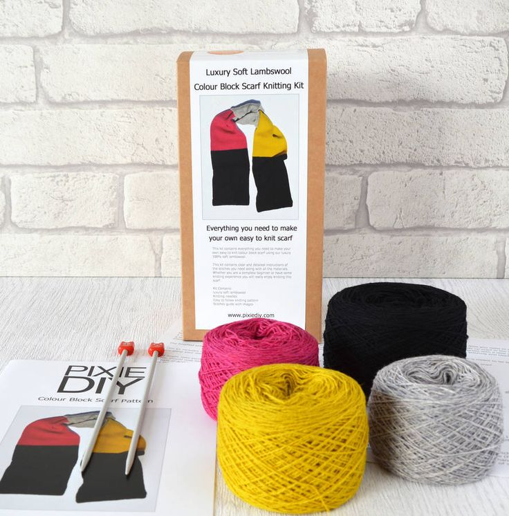 Knitting kits knit your own luxury colour block scarf knitting kit qbnviqx