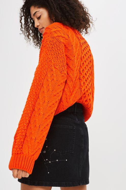 knitwear blouson cropped cable jumper yldohyl