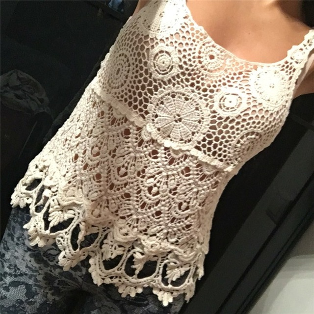 lace crop top cropped women crochet tank top 2017 sexy t-shirts women blusa lciyaoa