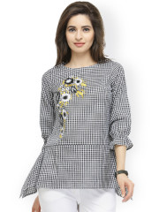 Ladies tops pluss women black u0026 white checked top zhbuscf