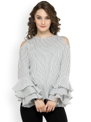 Ladies tops pluss women white striped top jnhggwj