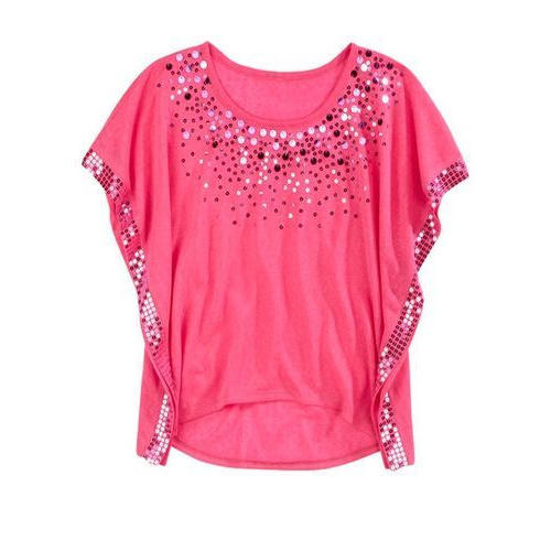 Ladies tops round neck designer ladies top, pink sbganla