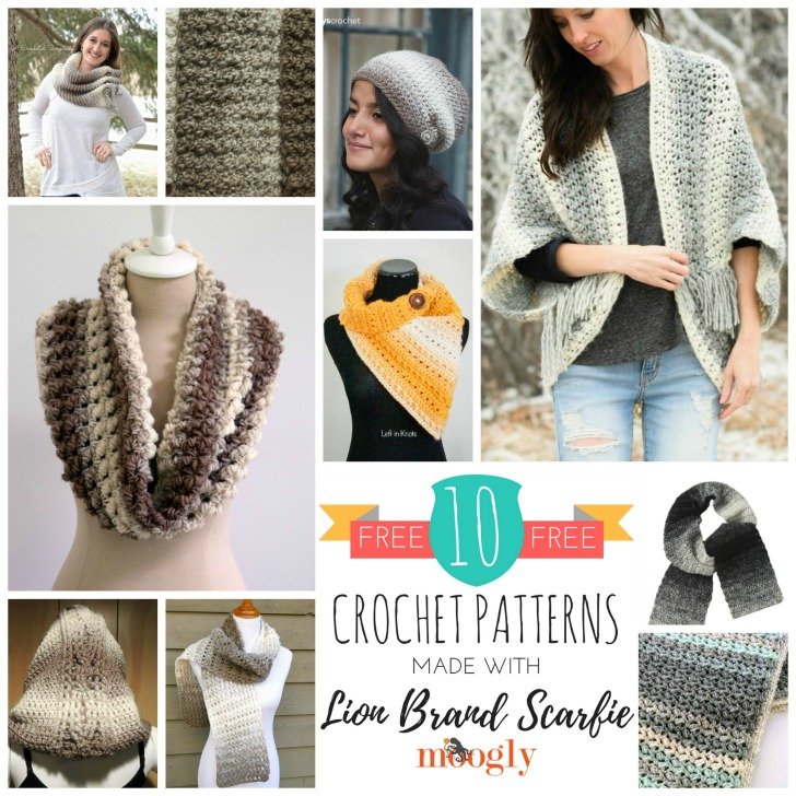 lion brand patterns 10 free crochet patterns made with lion brand scarfie - roundup on sabryil