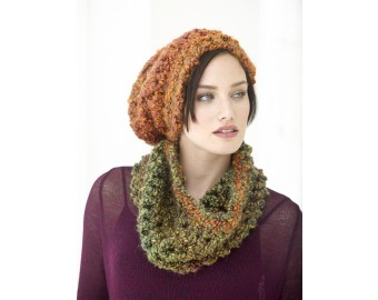 Lion Brand Yarn Patterns quick cushy hat and cowl set pattern (crochet) ksnnjrc