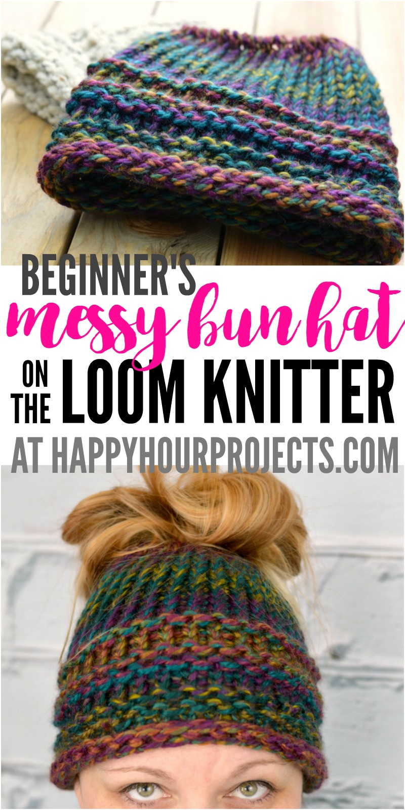 loom knitting patterns beginners messy bun hat using the loom knitter at happyhourprojects.com |  2-hour alfpjcd