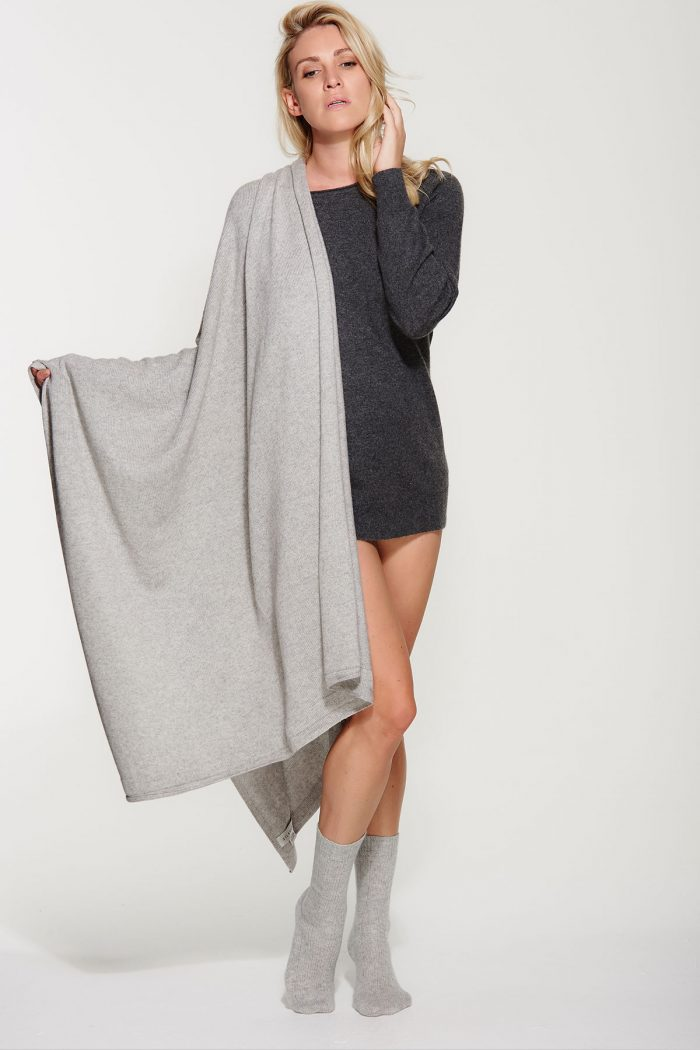 luxury knit oversized grey cashmere wrap - scarf llcomcg