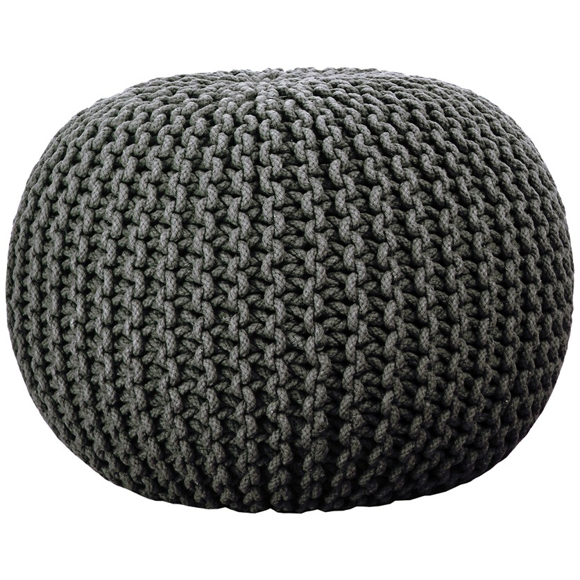 majestik knitted pouf - charcoal jdmztpy