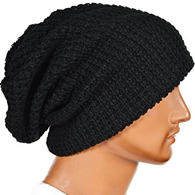 mens slouchy long black beanie knit cap for summer winter vpodaku