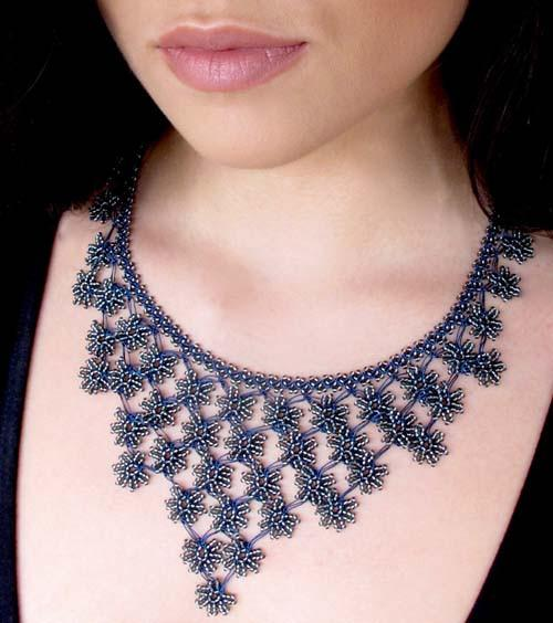 midnight blue petals cascade crochet necklace - silk and wool crochet - ericsaa