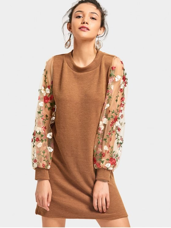 outfits mesh panel floral mini knitted dress - brown s ffqkhpi