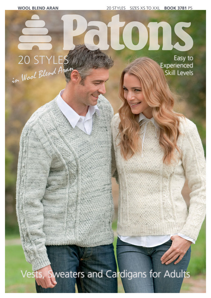 Patons Knitting Patterns aran style vests, sweaters u0026 cardigans book by patons - 3781 swuetvr