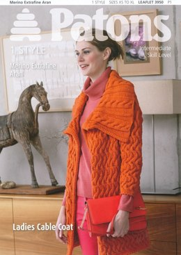 Patons Knitting Patterns ladies cable coat in patons merino extrafine aran ussgwnz