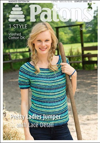Patons Knitting Patterns patons washed cotton dk pretty ladies jumper knitting pattern 3990. ryihxsr