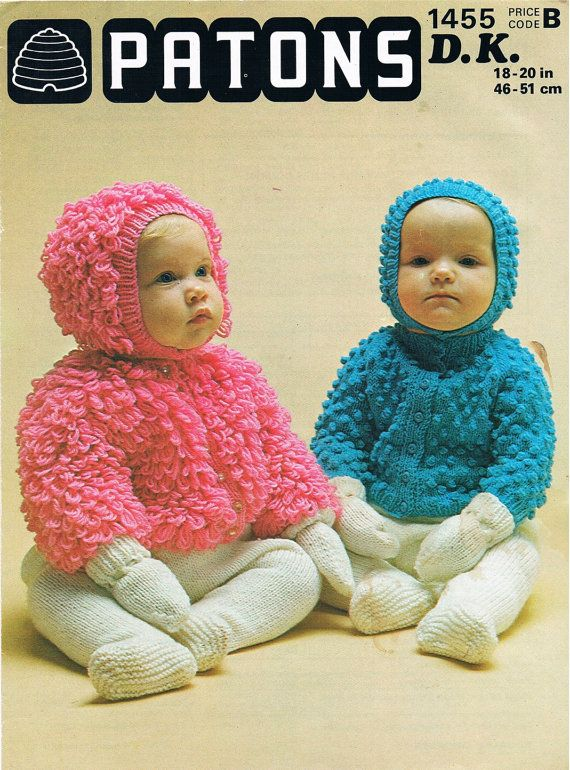Patons Knitting Patterns pdf vintage knitting pattern 1970s patons baby bobble or loopy cardigans  and licolnp