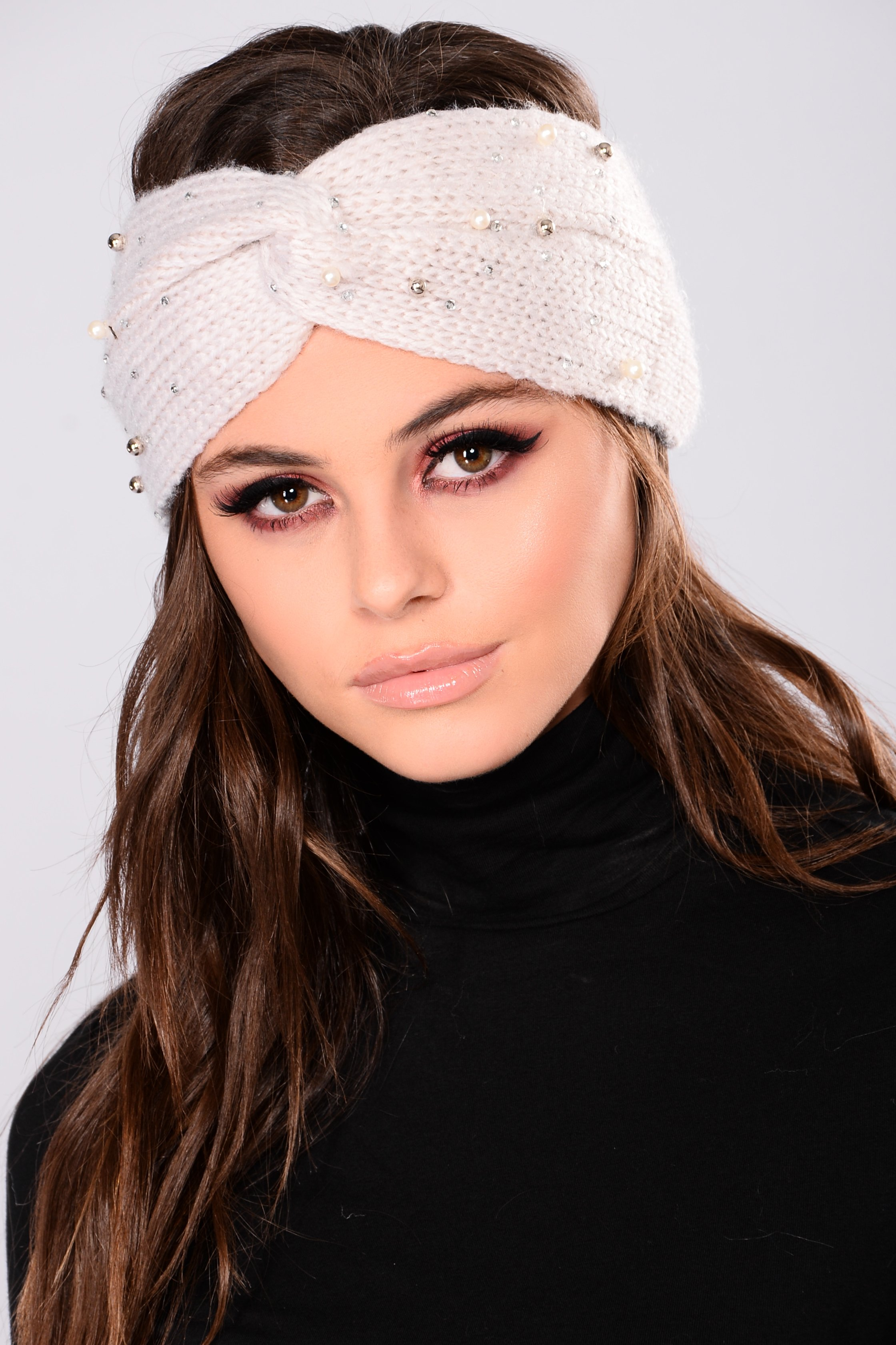 pearl drop knit headband - beige gmrctzh