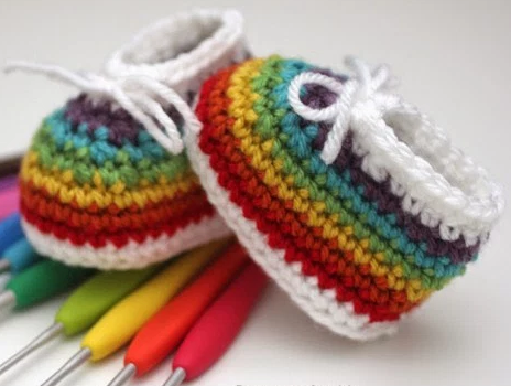 rainbow easy crochet baby booties wfgyvak