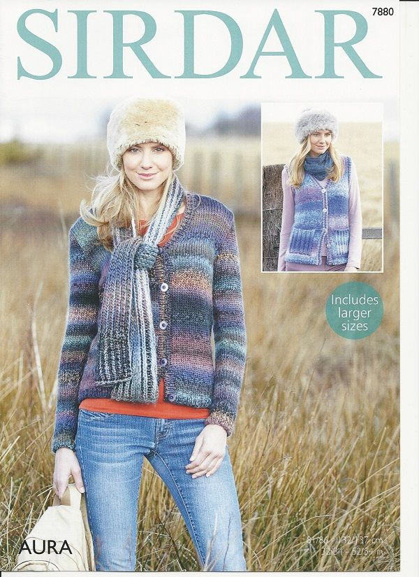 Sirdar Knitting Patterns sirdar ladies waistcoat and cardigan knitting pattern in aura chunky (7880)  . ohskrfb