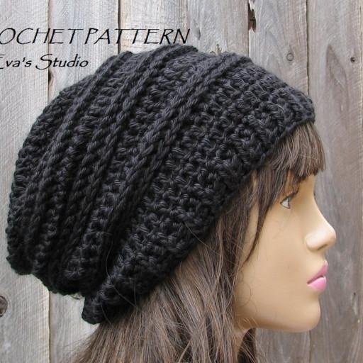 slouchy beanie crochet pattern crochet hat - slouchy hat, crochet pattern pdf | evasstudio on artfire zeyayxv