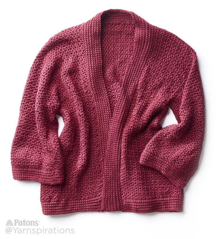 soft drape kimono crochet jacket - free pattern | yarnspirations gxqebsg
