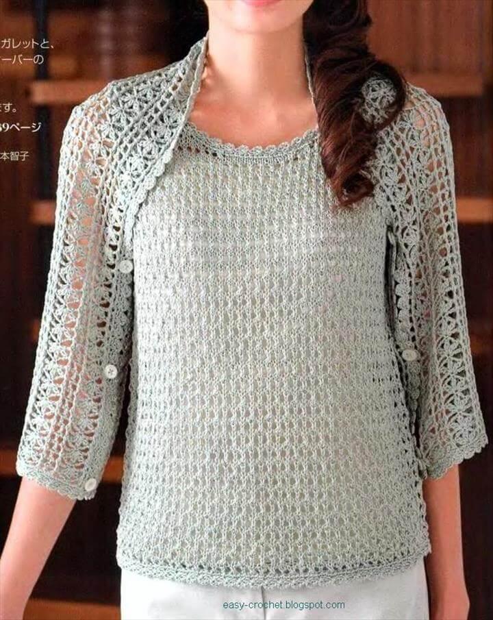 stylish easy crochet shrug: ladies crochet shrug psikagq