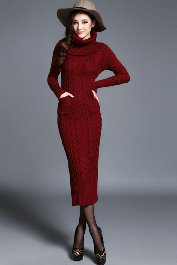 turtleneck cable knitted dress gcemtae