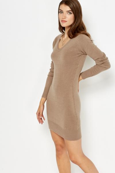 v-neck knitted dress cyksepo