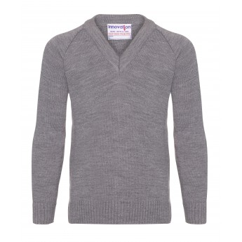v/neck knitted jumpers - grey wtmyamg