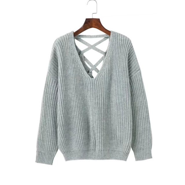 women autumn casual backless bandage knitted sweaters knitwear