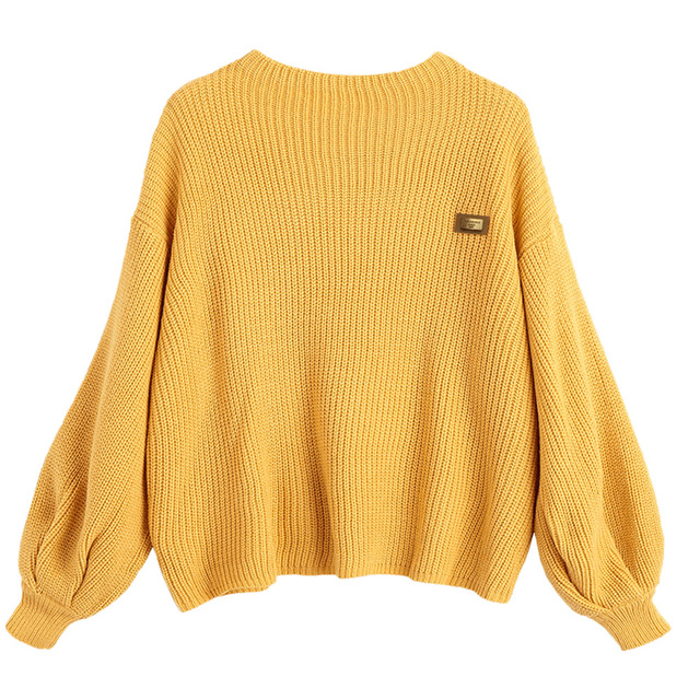 zaful women pullovers sweaters oversized knitwear yellow drop shoulder  loose knitted jumpers kmmgiin