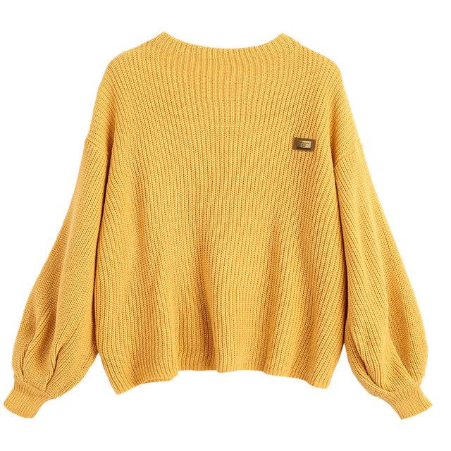 zaful women pullovers sweaters oversized knitwear yellow drop shoulder  loose knitted jumpers kmmgiin