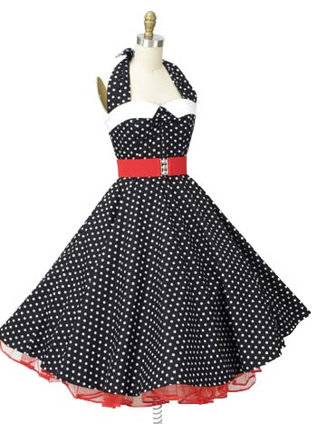 1950s Swing Dresses-50s Style Black and White Polka Dot Halter Dress