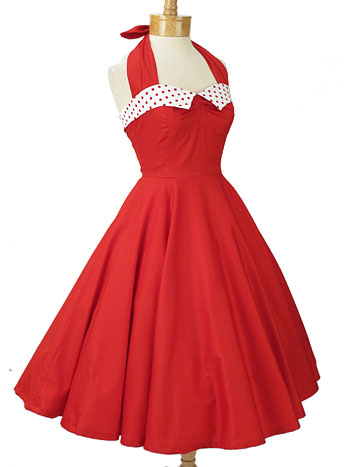 Red 50s Style Dresses-Retro Halter Dress-Classic Dame Clothing-USA