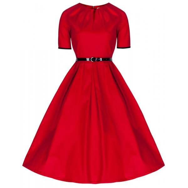1950's Inspired Red 'Zena' Dress | Vintage Style Dresses - Lindy Bop