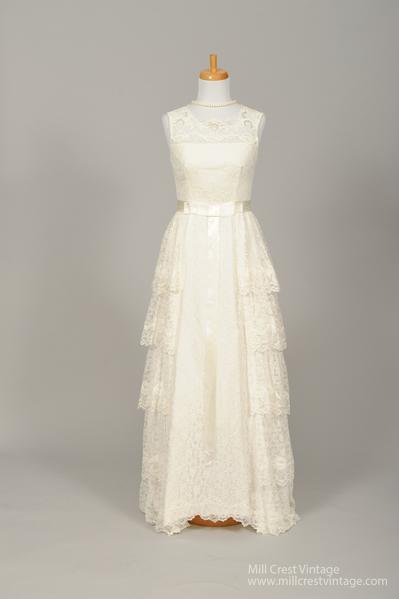 1950's Damask Vintage Wedding Dress