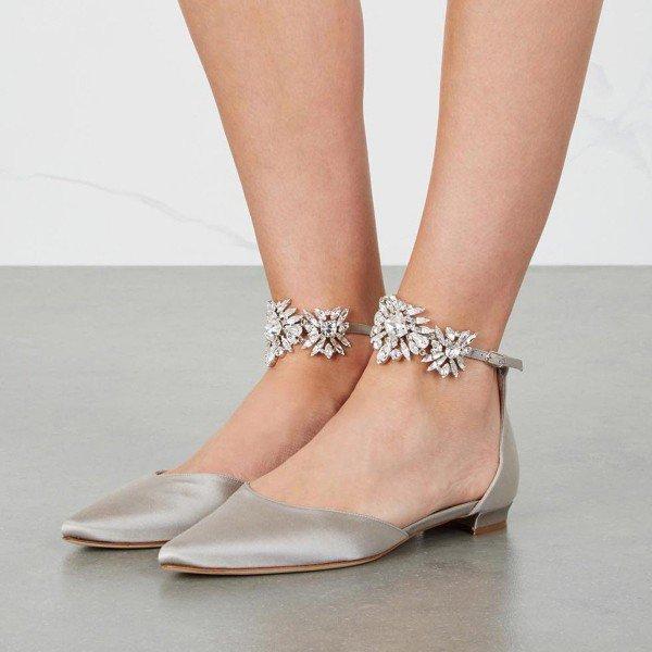 Grey Flat Wedding Shoes Satin Pointy Toe Rhinestone Ankle Strap