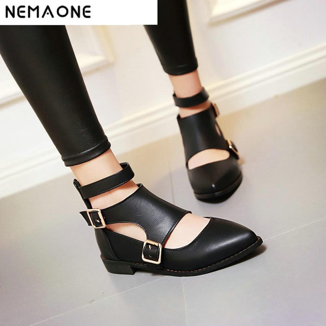 New Fashion ankle strap pointed toe women flats buckle woman flat
