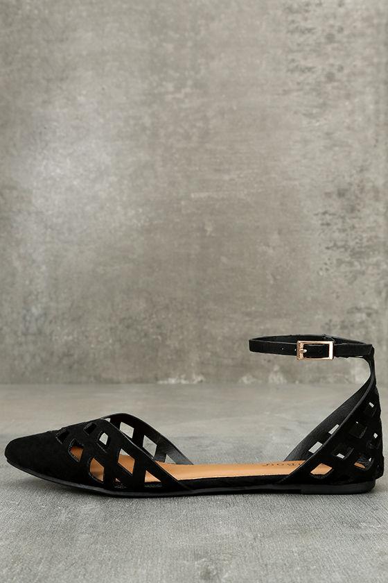 Cute Black Flats - Ankle Strap Flats - Cutout Flats - Vegan Suede