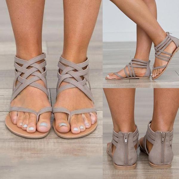 Sandals - Ladies Ankle Strap Flats Sandals u2013 Kaaum