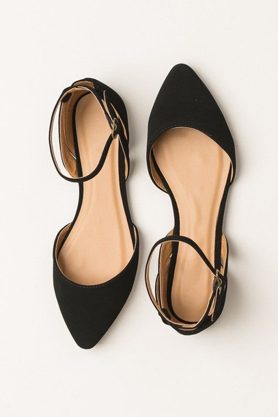 shoes, black shoes, black pointed flat, ankle strap, flats, black