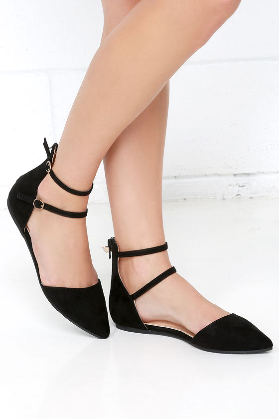 Cute Black Flats - D'Orsay Flats - Pointed Flats - Ankle Strap Flats